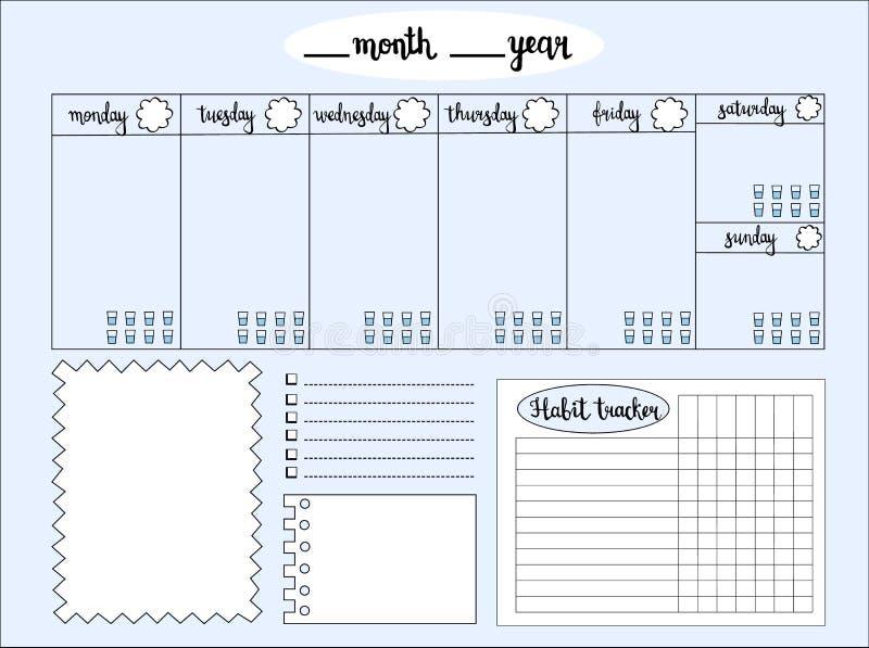Vacie al planificador semanal con el perseguidor del nivel del agua, espacio para las notas, stock de ilustración