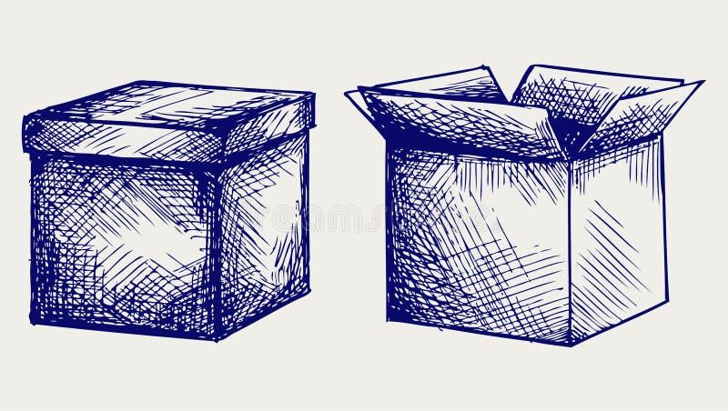 Vacie, caja de cartón ilustración del vector