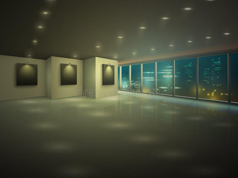 Vacie el apartamento iluminado en la noche ilustración del vector
