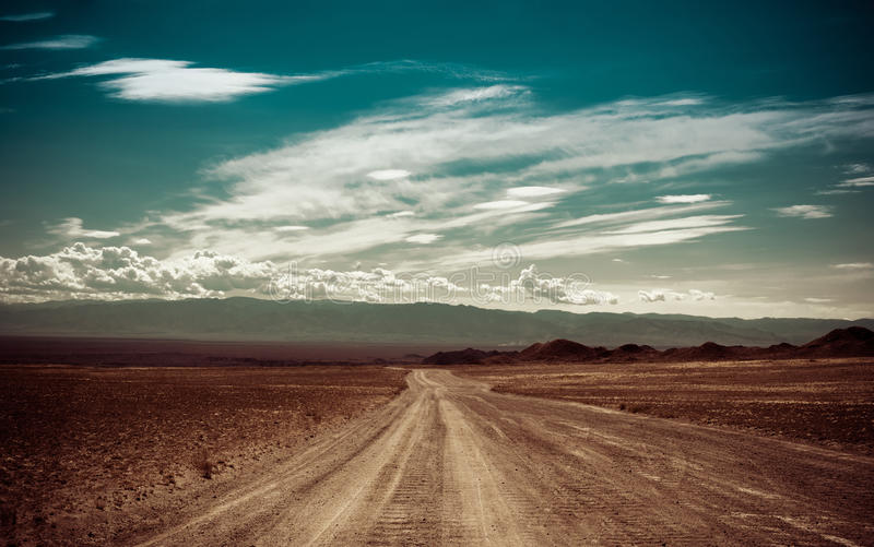 Vacie el camino rural que pasa a través de pradera debajo del cielo nublado imagenes de archivo