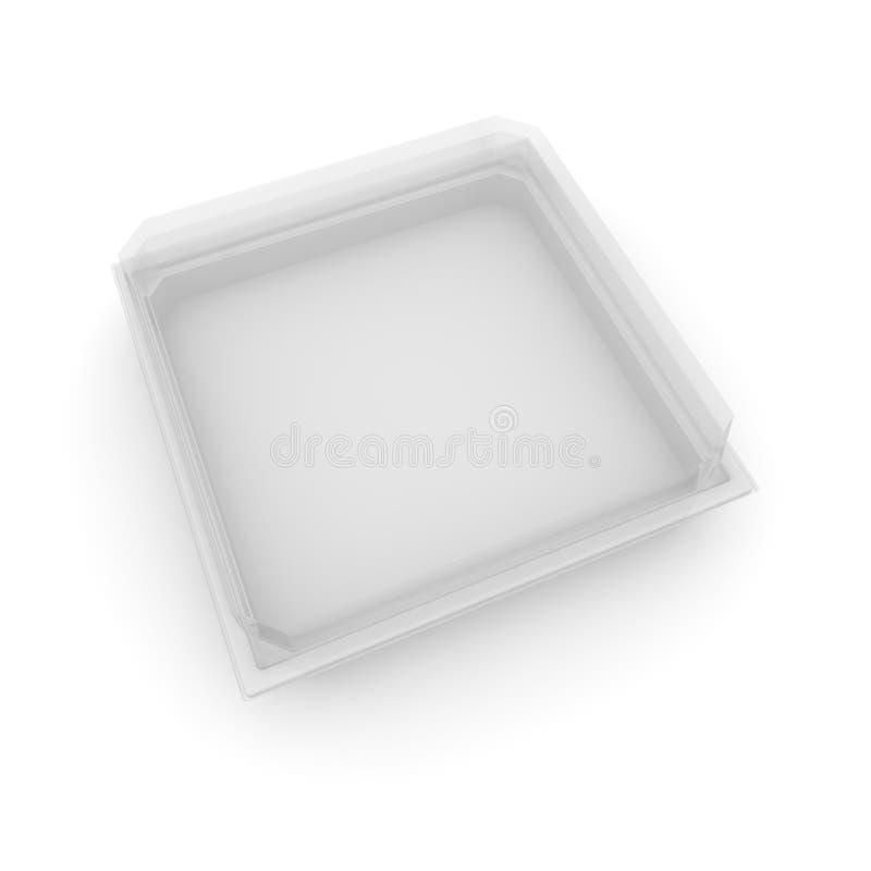 Vacie el envase de plástico con una tapa transparente para la comida, los productos de la confitería y otros productos Fondo aisl ilustración del vector
