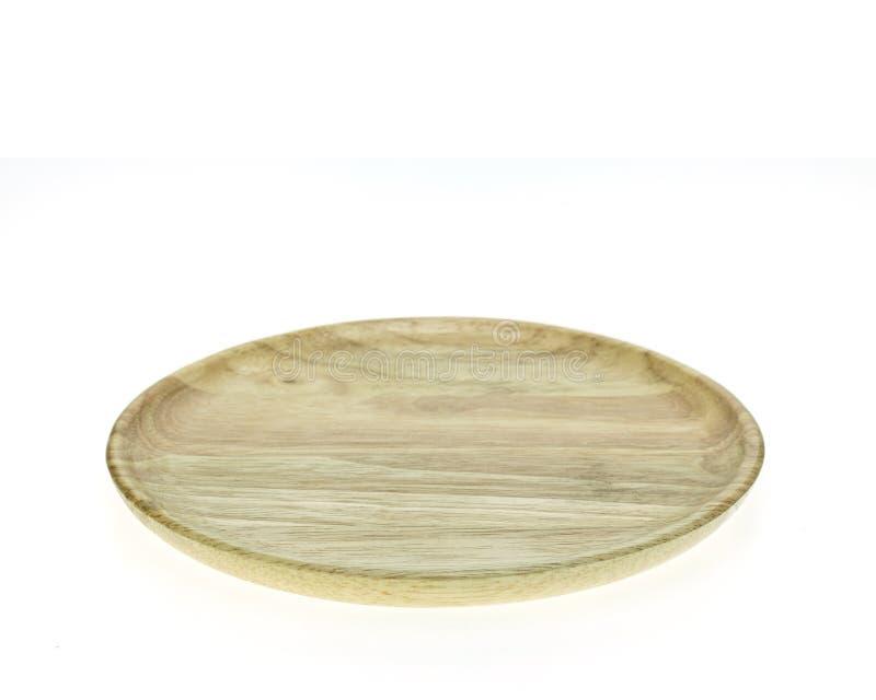 Vacie el plato de madera plano aislado en el fondo blanco imágenes de archivo libres de regalías