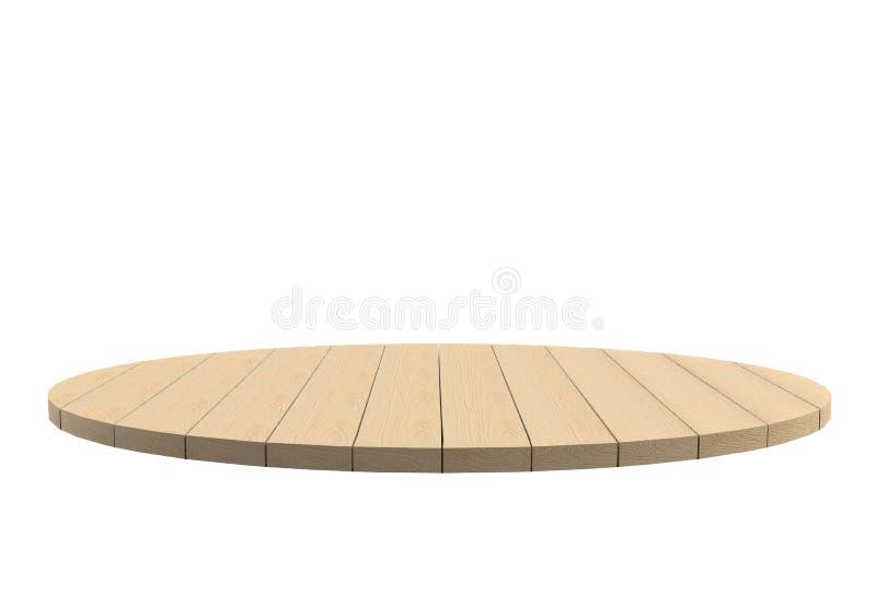 Vacie el top de la tabla o del contador de madera lisa aislado en el fondo blanco libre illustration