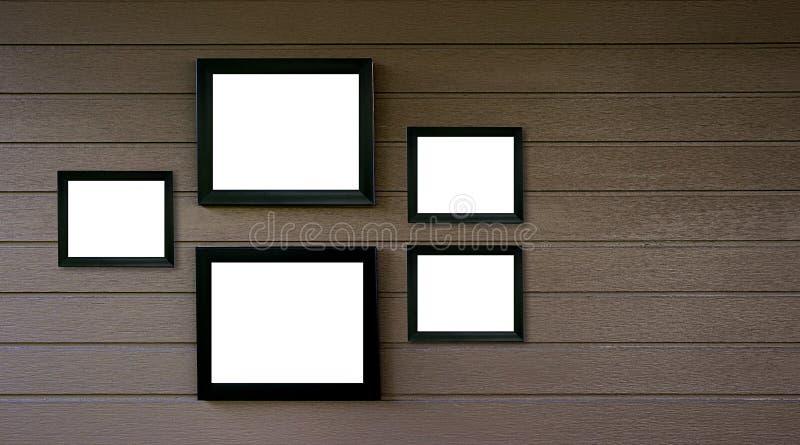 vacie el viejo vintage de madera del marco en la foto de madera de la pared o represente a AR imagen de archivo libre de regalías
