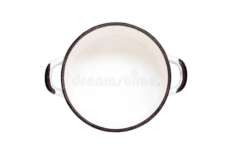 Vacie la cacerola vieja blanca del esmalte aislada en el fondo blanco el top compite fotografía de archivo libre de regalías