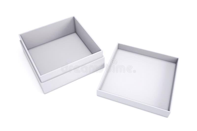 Vacie la caja blanca con el casquillo adyacente en un fondo blanco 3d stock de ilustración