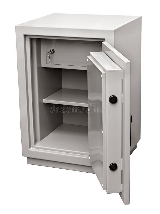 Vacie la caja fuerte abierta del metal aislada en el fondo blanco fotos de archivo libres de regalías