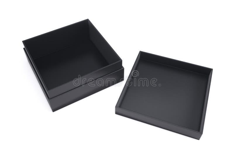 Vacie la caja negra con el casquillo adyacente en un fondo blanco 3d libre illustration