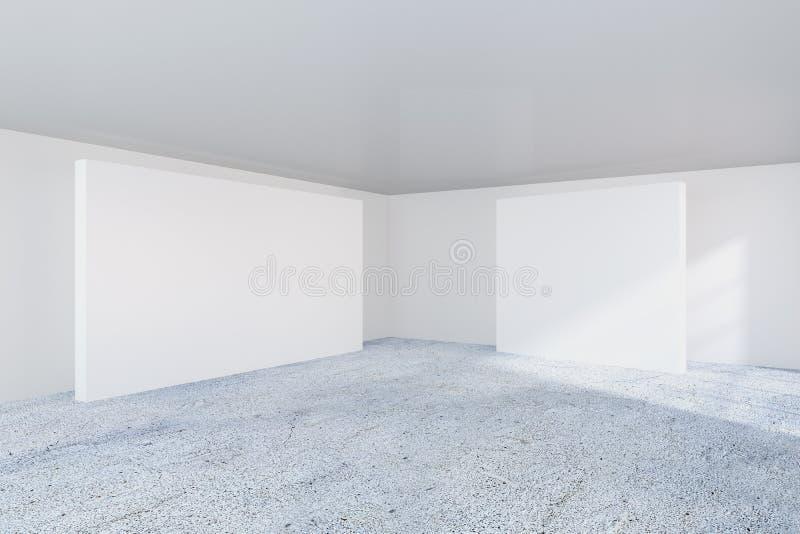 Vacie la cartelera blanca en la pared del blanco de la oficina representación 3d stock de ilustración