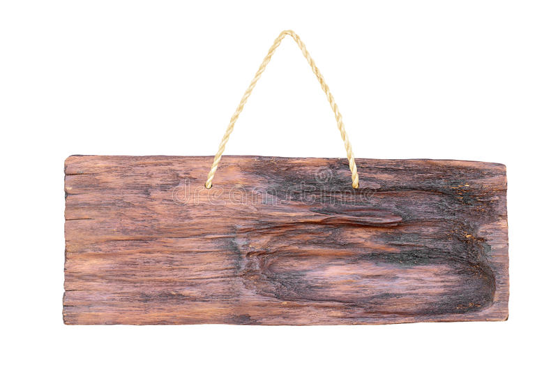 Vacie la ejecución de madera de la muestra en una cuerda en blanco foto de archivo libre de regalías