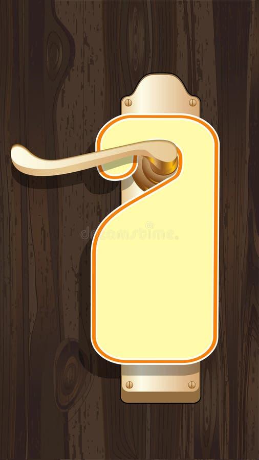 Vacie la escritura de la etiqueta en una maneta de puerta. ilustración del vector