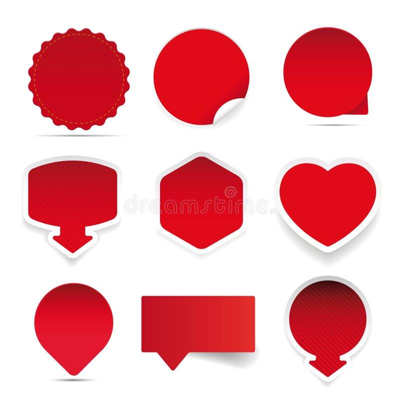 Vacie la etiqueta engomada del rojo de la etiqueta ilustración del vector