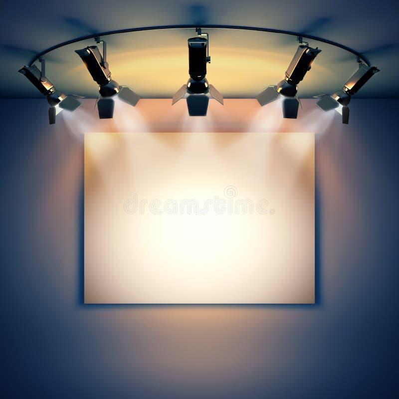 Vacie la imagen iluminada por los proyectores ilustración del vector