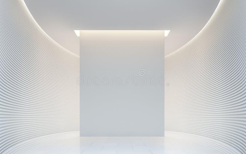 Vacie la imagen interior de la representación 3d del espacio moderno del sitio blanco ilustración del vector