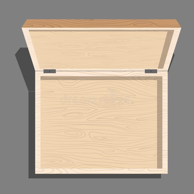 Vacie la opinión superior abierta de la caja de madera Caso de tableros Unblo ilustración del vector