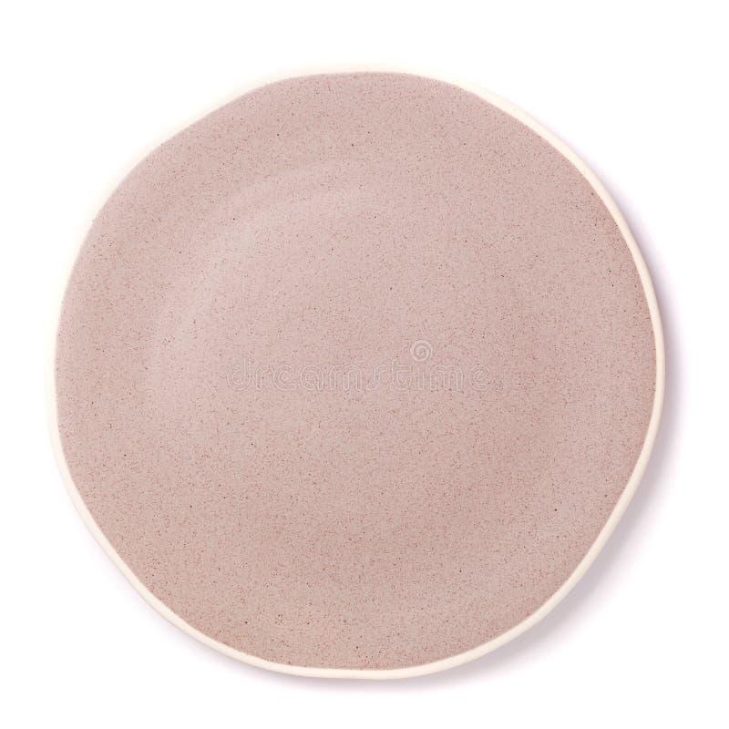 Vacie la opinión superior del plato en blanco aislada en un fondo blanco fotos de archivo