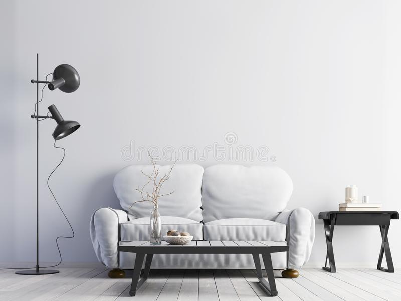Vacie la pared blanca en interior moderno con el sofá blanco y la tabla blanca del piso y baja stock de ilustración