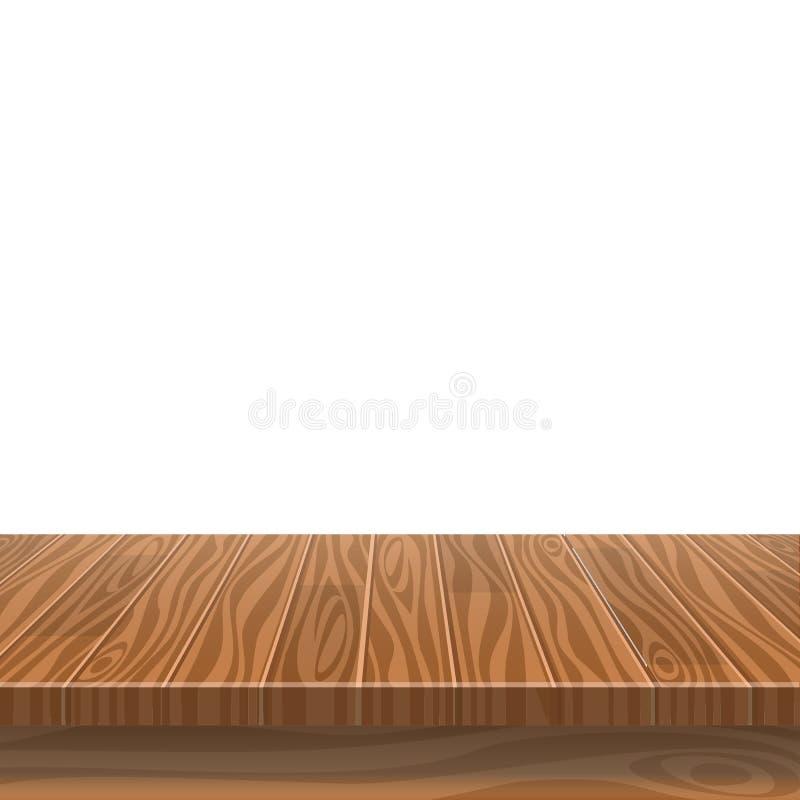 Vacie la tabla de madera en un jardín mojado sol del verano para la colocación del producto o el montaje con el foco a la sobreme ilustración del vector