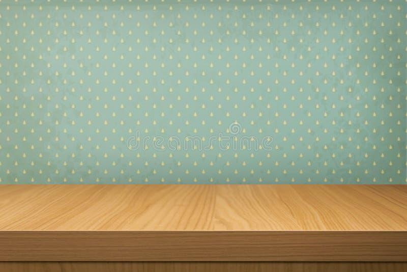 Vacie la tabla de madera sobre el papel pintado del vintage con un modelo de la lluvia libre illustration