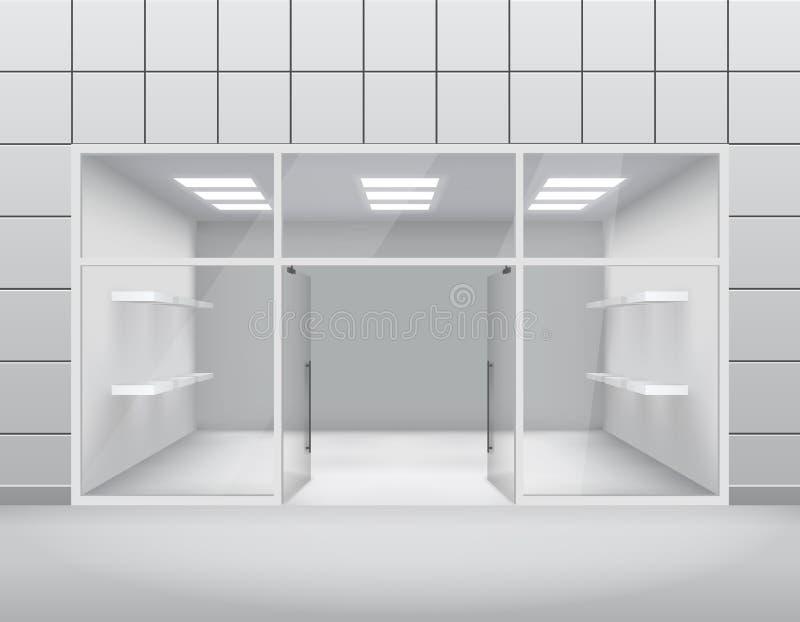 Vacie la ventana del boutique de la tienda y el ejemplo delanteros del vector de la plantilla de la puerta abierta 3d ilustración del vector