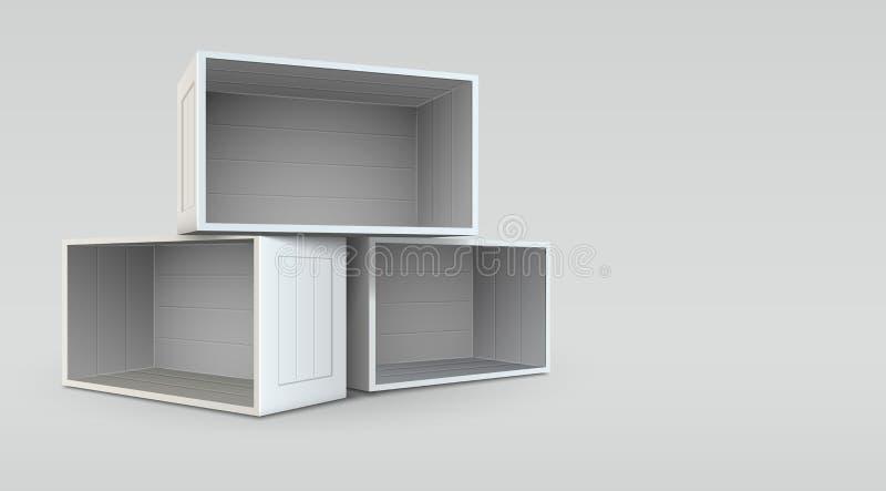Vacie las cajas abiertas stock de ilustración