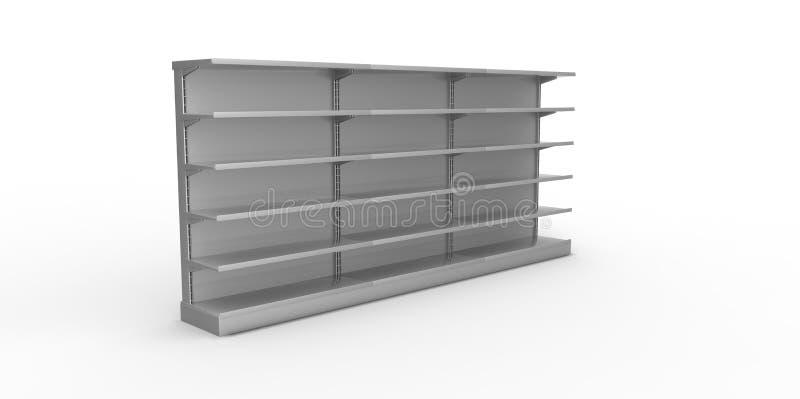Vacie los estantes al por menor grises en un fondo llano libre illustration