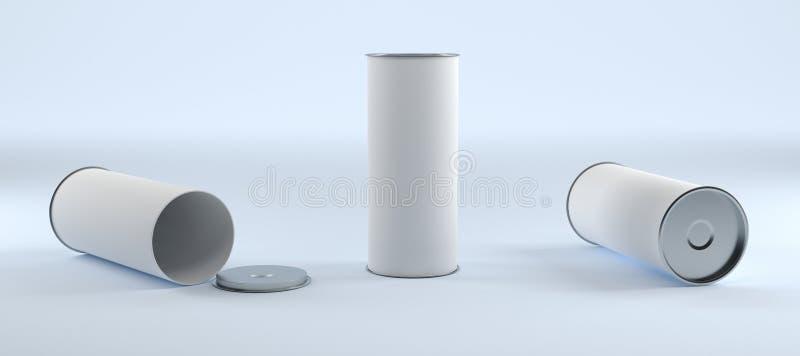 Vacie los paquetes cerrados y derechos abiertos del cilindro del tubo con Whi ilustración del vector