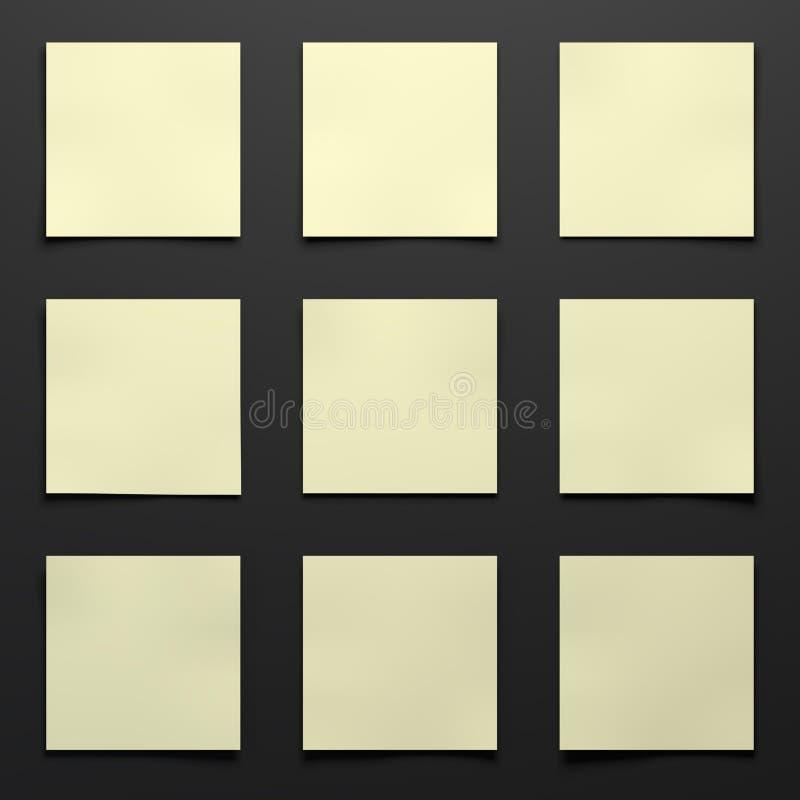 Vacie nueve papeles de notas amarillos claros en la tabla negra stock de ilustración
