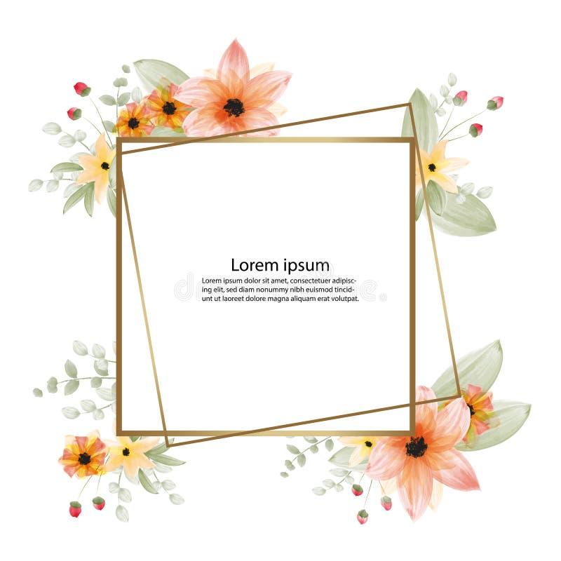 vacker blomma, vattenfärgsmålning och ram- eller banderollbakgrund royaltyfri illustrationer