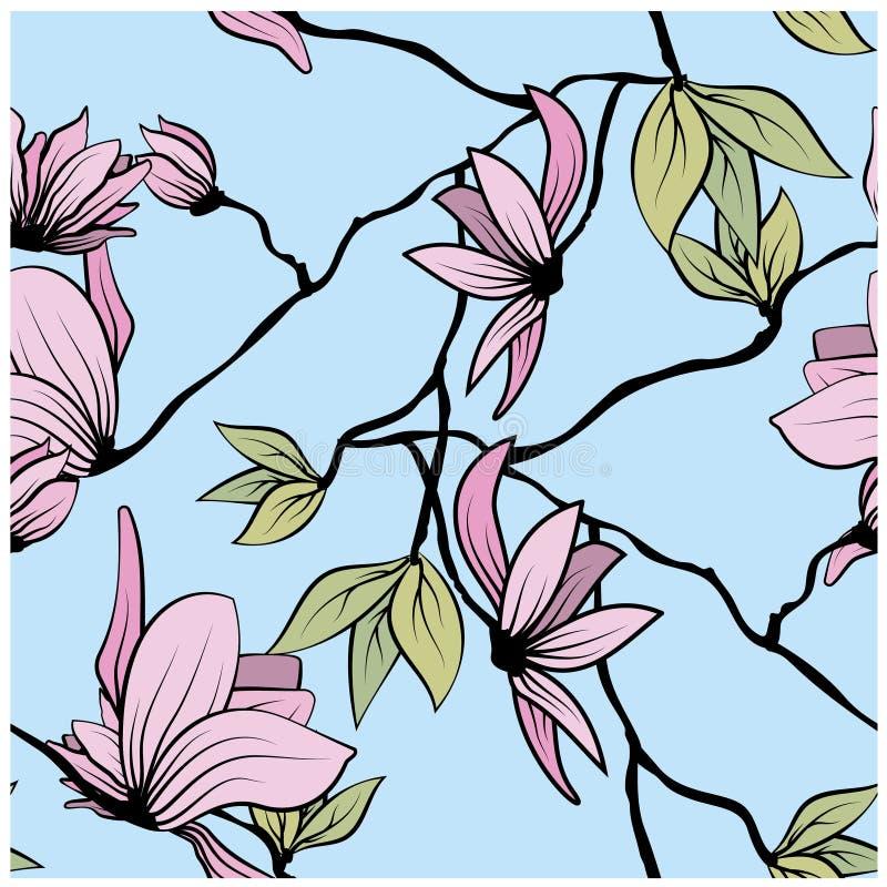 Vackert japanskt sömlöst mönster med rosa magnolia på färgad bakgrund för dekorativ design Sömlös vektor vektor illustrationer