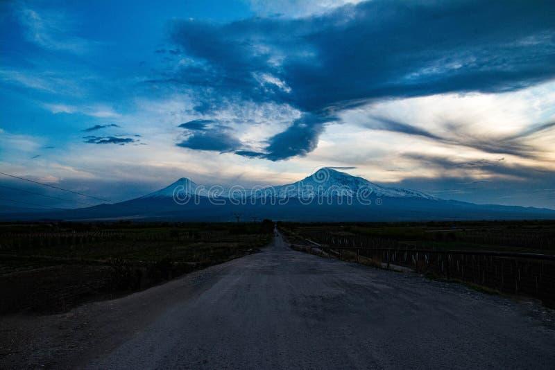 Vackert och unikt berget Ararat Visa från Armenien royaltyfria foton