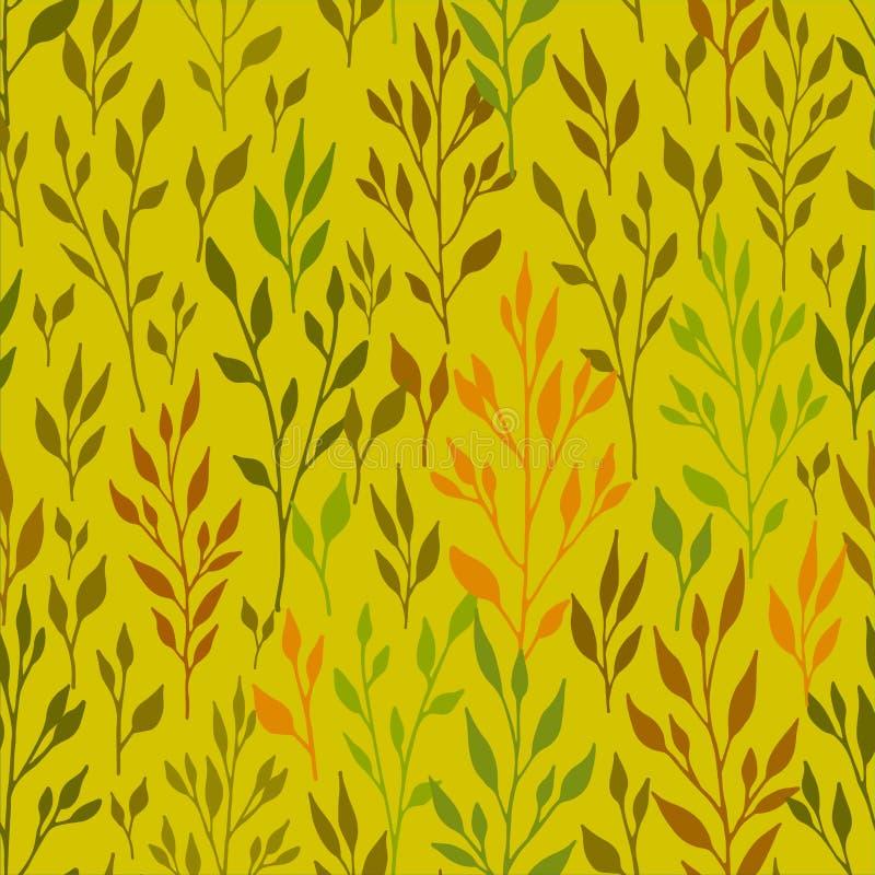 Vackert vektormönster utan höft, handdragna grenar med blad i varma färger royaltyfri illustrationer