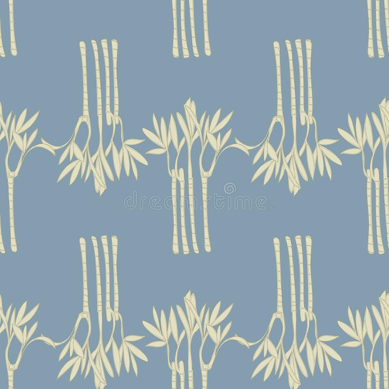 Vackra bambu på en blå bakgrundsrepeteringsvektor vektor illustrationer