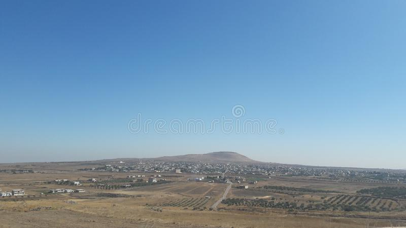 Vackra bergslandskap och savannasområdet, Golan Heights arkivfoto