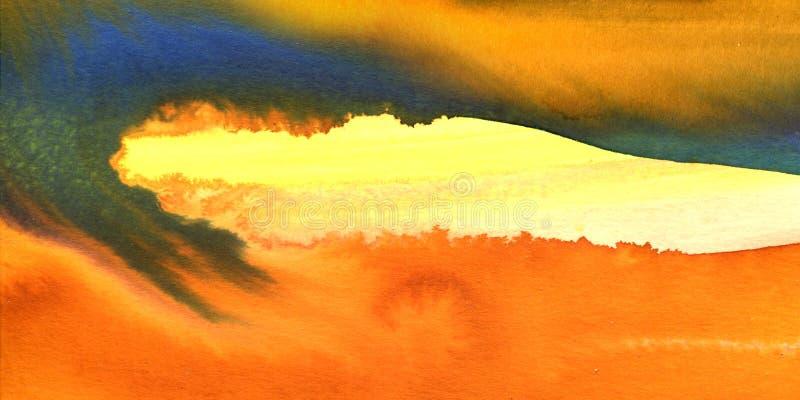 Vackra färgstarka vattenfärgstexturer, ljusa bakgrunder, gula, orange, blå färg, moderna, abstrakta målningar arkivfoto