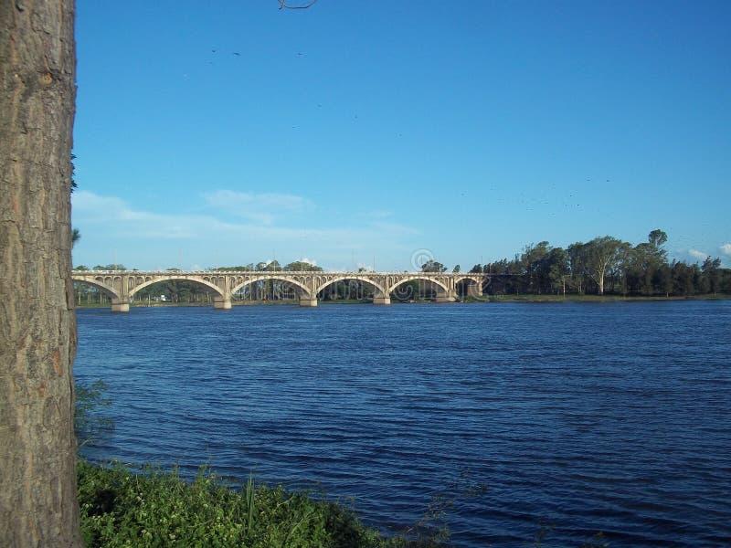 Vackra landskap i floden utomhus royaltyfria bilder