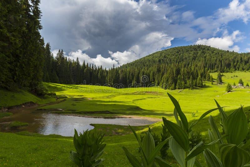 Vackra sommarlandskap i avlägsna landsbygdsområden i Europas berg, med stormmoln arkivbilder