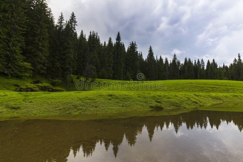 Vackra sommarlandskap i avlägsna landsbygdsområden i Europas berg, med stormmoln royaltyfria bilder