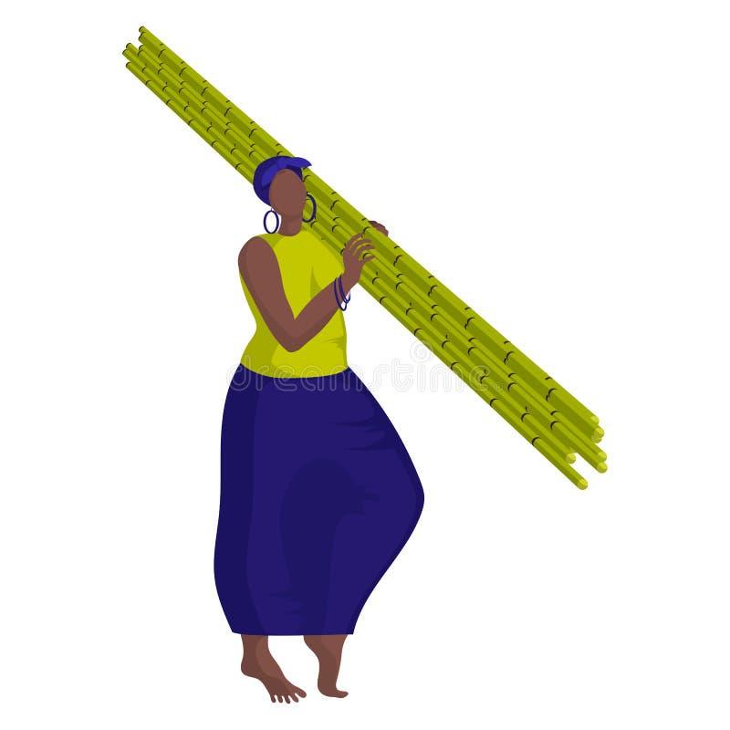 Vackra svarta flickor skördar sockerrör manuellt royaltyfri illustrationer