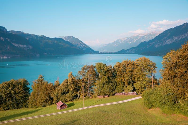 Vackra svingslandskap, se över sjöns tönt för att korsa, autumnträd och ängar royaltyfri fotografi