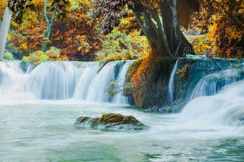Vackra vattenfall i staden Saraburi i Thailand royaltyfri bild