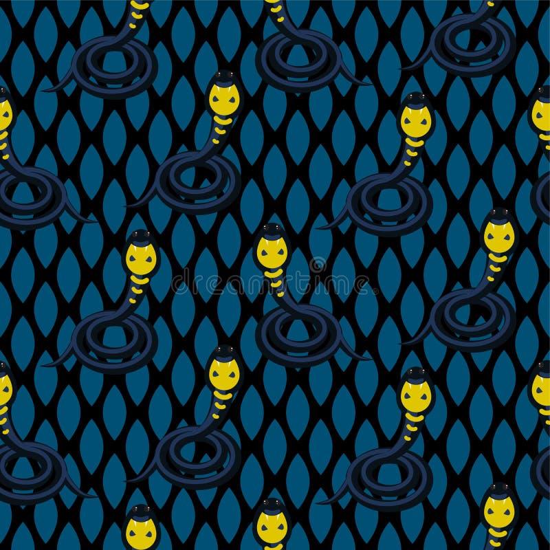 Vactor sans couture bleu-foncé de cobra patttern illustration libre de droits