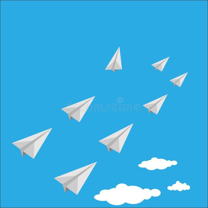 Vactor van document vliegtuig als leider onder wit vliegtuig vector illustratie
