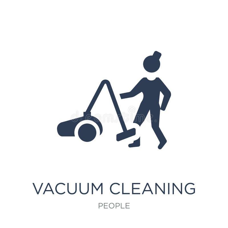 Vacuüm schoonmakend pictogram In vlak vector Vacuüm schoonmakend pictogram  vector illustratie