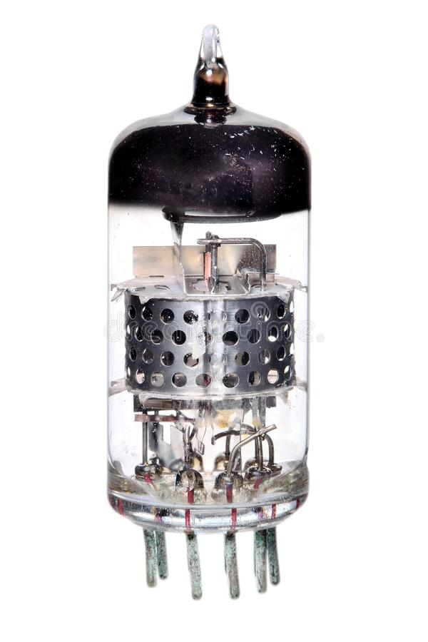 Vacuum tube 1950-60s radio & television component. Photographed on a white background with the internal construction visible stock photos