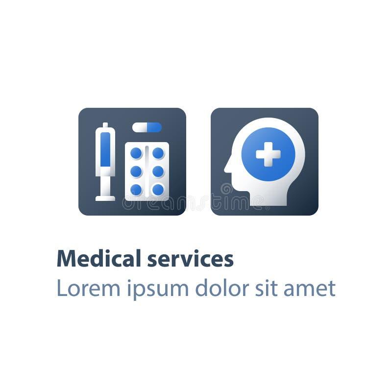 Vacunación preventiva, farmacia y medicina, drogas médicas, cápsula de los antibióticos, píldoras del calmante, terapia de la med stock de ilustración