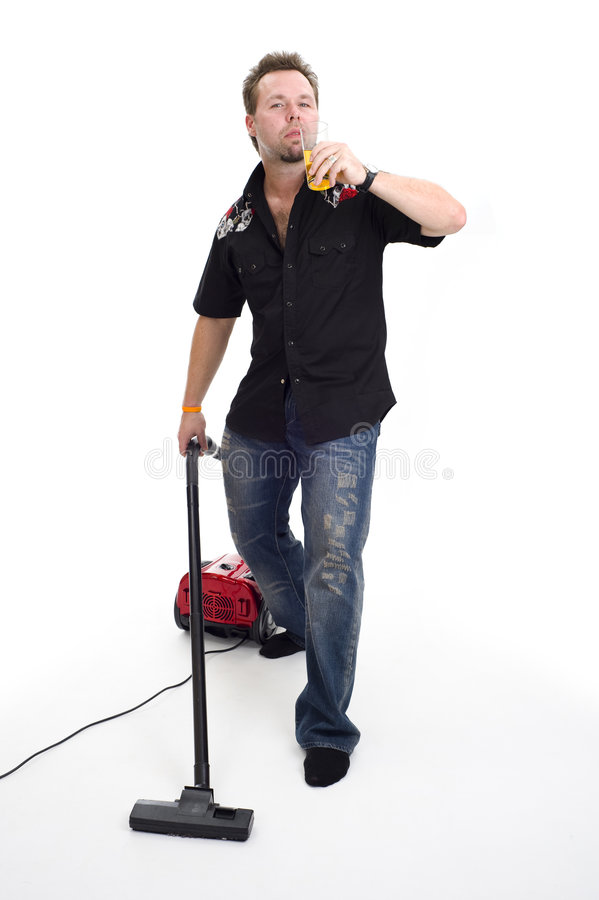 vacuum cleaner and beer royalty free stock photos