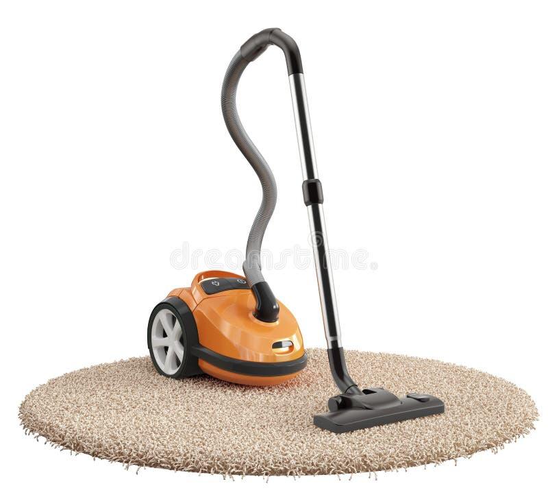 Vacuum cleaner on the carpet isolated on white background stock illustration