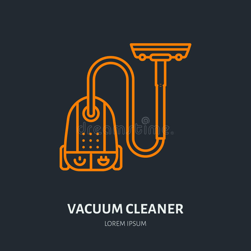 Download Vacuum Cleaner Flat Line Icon, Logo. Vector Illustration Of  Household Appliance For Housework