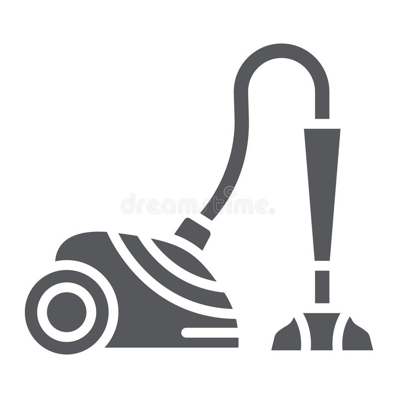 Vacuum cleaner glyph icon, appliance and home, hoover sign, vector graphics, a solid pattern on a white background. Vacuum cleaner glyph icon, appliance and stock illustration